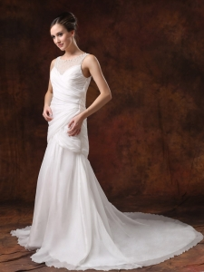 Chiffon Ruched Bridal Wedding Dress Court Train Beaded A-line