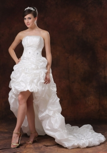 Beaded High-low Beaded Wedding Dress Pick-ups Taffeta