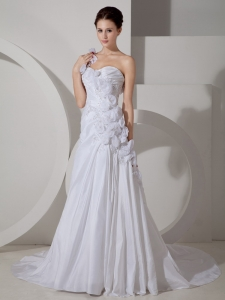 One Shoulder Handle Flowers Bridal Dress Court Train Chiffon