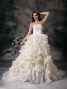 Hand Made Flower Chapel Train Wedding Dress Organza