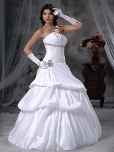 Bridal Wedding Gown Taffeta Beaded Strapless Floor-length