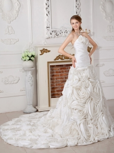Fabric With Rolling Flowers Wedding Dress A-line Chapel Train