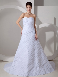 Ruching Wedding Gown Chiffon A-line Sweetheart Court Train