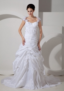 Sweetheart Wedding Gown Handle Flowers Court Train Taffeta