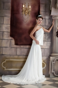 One Shoulder Pleat Wedding Dresses Court Train Beading