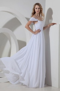 Wedding Dress Off Shoulder and Spaghetti Straps Chiffon Ruch