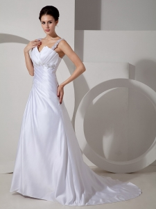 Beading Straps Appliques Wedding Dresses Satin Train