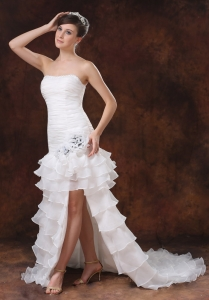 High Slit Sweep Mermaid Wedding Dress Beaded Organza