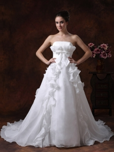 Bowknot Ruffles Ball Gowns Wedding Dress Organza Train