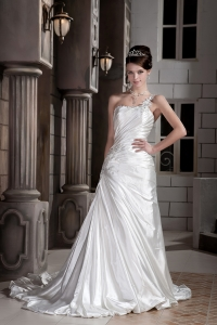 One Shoulder Ruch Wedding Dress Court Train Taffeta Beading