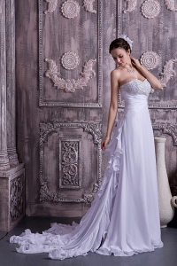 Beading Bridal Dress Chiffon Sweetheart Court Train Empire