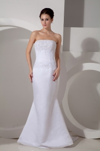 Mermaid Wedding Gowns Watteau Train Appliques Strapless