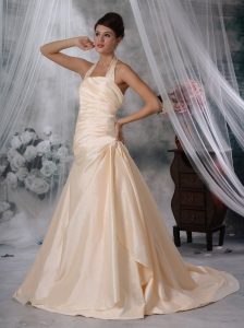 Champagne Wedding Bridal Dress Halter Court Train Taffeta Ruched