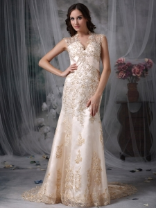 Champagne Mermaid Prom Dress V-neck Brush Train Embroidery