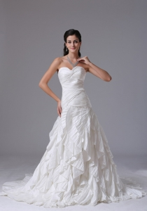 Ruffles Sweetheart Ruched Bridal Wedding Dress Chiffon
