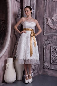 Lace and Organza Wedding Dress Sweetheart Tea-length Sash