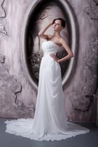 Empire Wedding Gown Strapless Sweep Train Appliques Chiffon