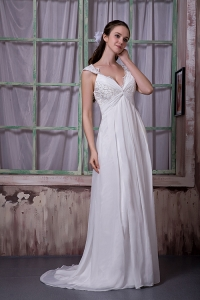 V-neck Straps Wedding Dress Brush Train Chiffon Appliques