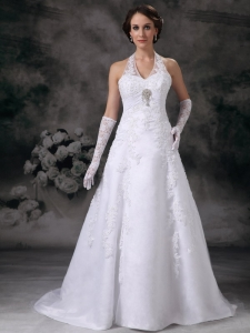 Lace Halter Beaded Church Wedding Dresses Court Train