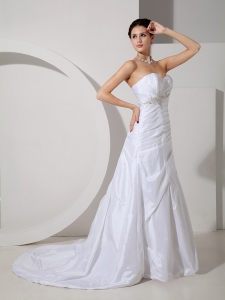 Appliques Sweetheart Court Train Ruched Wedding Dress