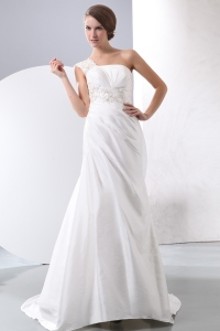 Brush Train Wedding Dress A-line One Shoulder Appliques Beading