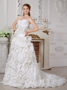 Taffeta Hand Made Flowers Wedding Gown Sweetheart Court Train