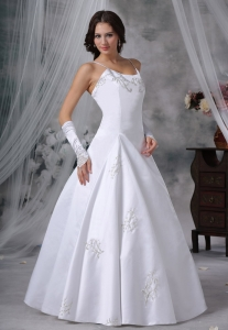 Satin Wedding Gown Spaghetti Straps Ball Gown Embroidery