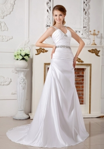 Brush Train Beading Wedding Gown V-neck Straps Satin A-line
