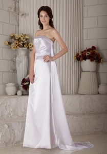 Satin Ruched Wedding Gown Strapless Brush Train Column