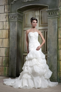 Organza Beading Wedding Dress Mermaid Sweetheart Chapel Train