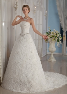 Rolling Flowers Wedding Dresses Beaded Train Ball Gown