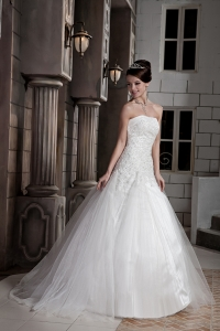 Lace Beading Bridal Dress Tulle Taffeta Court Train Strapless