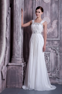 Beaded Chiffon Wedding Bridal Dress Empire Straps Brush Train