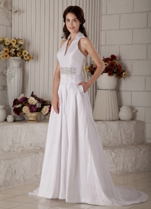 V-neck Taffeta Wedding Bridal Gown Court Train Beaded Princess