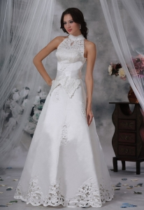 High-neck Bowknot Wedding Dress Appliques Sash Satin
