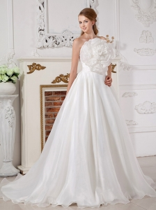 A-line Strapless Wedding Gown Court Train Hand Made Flower