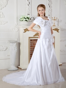 Hand Made Flowers Wedding Dress A-line Court Train Taffeta