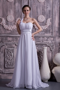 Empire One Shoulder Bridal Gown Court Train Chiffon Ruching