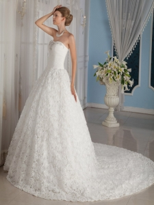 Chapel Train Rolling Flowers Bridal Wedding Dress Beaded