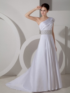 One Shoulder Beading Belt Wedding Dress Ruched Train