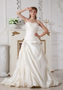 Detachable Off The Shoulder Straps Court Train Bridal Dress