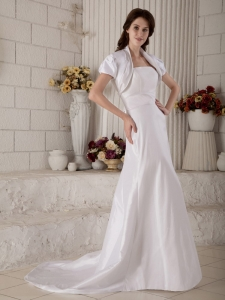 Satin Princess Bridal Dress Court Train Strapless with Jacket