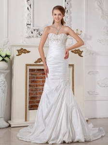 Ruched Bridal Dresses Sweetheart Court Train Taffeta Appliques