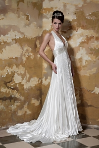 Halter Beading Pleats Bridal Wedding Dress Court Train