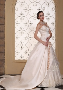 One Shoulder Champagne Bridal Dress Handle Flowers Embroidery