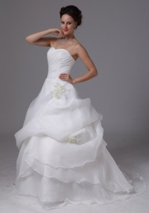 Organza Wedding Gown Hand Made Flowers Brush Train Pick-ups