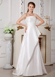 A-line Wedding Dress Beading and Bowknot Brush Train Satin