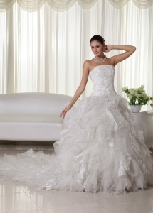 Ruffles Bridal Gown Chapel Train Organza A-line Appliques