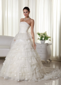 Ivory Ruffled Layers Court Train Organza Appliques Bridal Gown