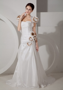 Handle Flowers Ivory Wedding Gown Court Train Taffeta Ruch